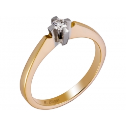 Pierścionek z żółtego złota zdobiony brylantem: GDR12499