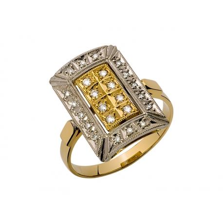 Pierścionek z żółtego złota zdobiony brylantami