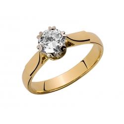 Pierścionek z żółtego złota zdobiony brylantem