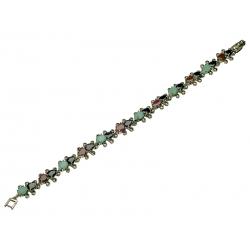 Bransoleta srebrna zdobiona rubinami, szmaragdami, szafirami i markazytami