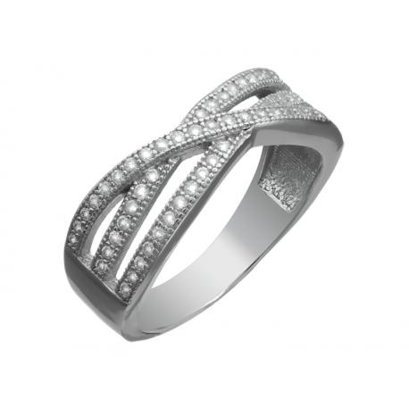Pierścionek srebrny zdobiony cyrkoniami
