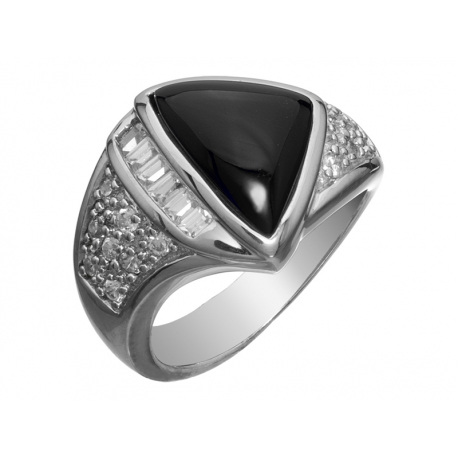 Pierścionek srebrny onyksem i cyrkoniami
