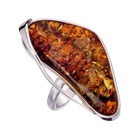 Pierścionek srebrny z bursztynem naturalnym: SAR009