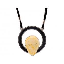Naszyjnik srebrny z bursztynem na rzemyku: SAN003