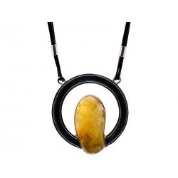 Naszyjnik srebrny z bursztynem na rzemyku: SAN005