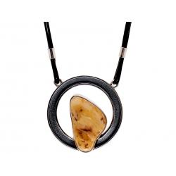 Naszyjnik srebrny z bursztynem na rzemyku: SAN006