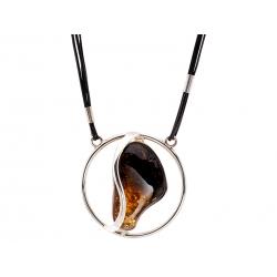 Naszyjnik srebrny z bursztynem na rzemyku: SAN007