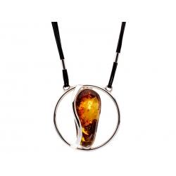 Naszyjnik srebrny z bursztynem na rzemyku: SAN009