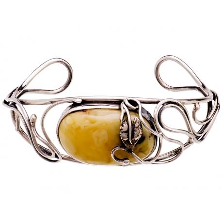 Bransoleta srebrna zdobiona bursztynem mlecznym: S-B085