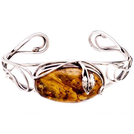 Bransoleta srebrna zdobiona bursztynem: S-B087