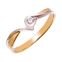 Pierścionek z żółtego złota zdobiony brylantem: GDR13048