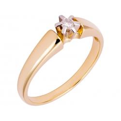 Pierścionek z żółtego złota zdobiony brylantem: GDR12572