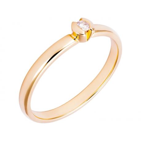 Pierścionek z żółtego złota zdobiony brylantem: GDR12736